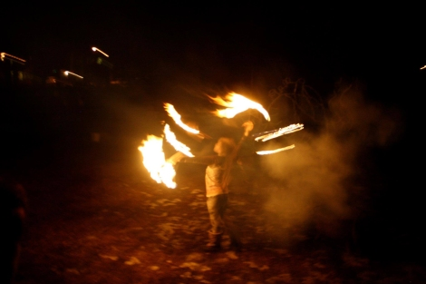 fire spinner in the dark