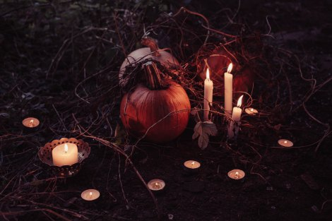 Pumpkin altar with candles