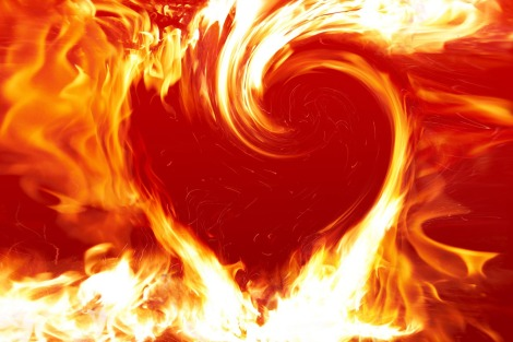 swirling fire heart